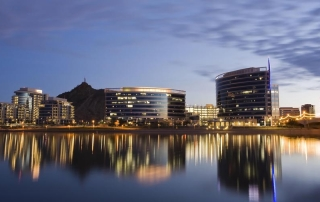 The city of Tempe, Arizona as seen from Tempe Town Lake.